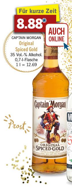 (lidl ) Ab dem 27.12 Offline, online ab sofort + Versandkostenfreie Lieferung mit 30€ MBW. Captain Morgan Spiced Gold 0,7l