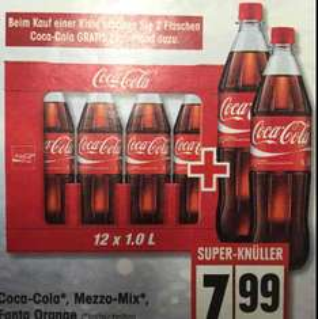 EDEKA|Ein Kasten Cola/Fanta/Mezzo für 7,99€ + 2 Flaschen gratis!
