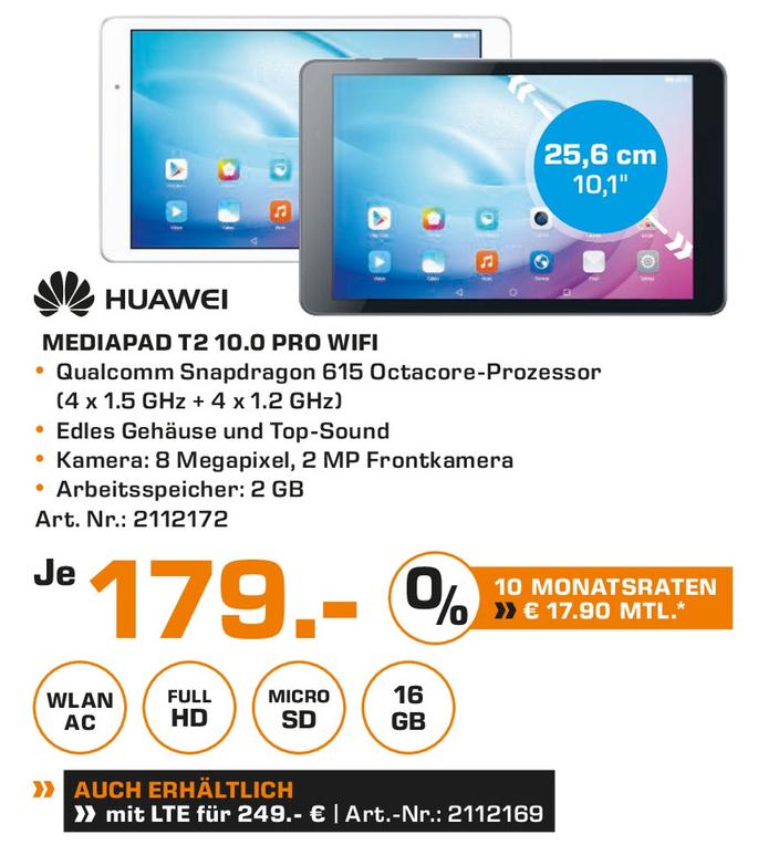 [Saturn Berlin/Potsdam] Huawei Mediapad T2 10.0 Pro WiFi für 179€