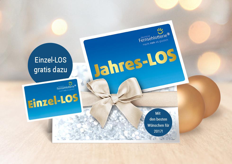 Geschenkidee: Einzel LOS gratis bei Kauf eines Jahresloses der Deutschen Fernsehlotterie