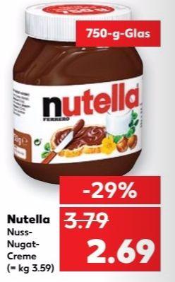[Kaufland]  Nutella 750g Glas für 2,69€ (3,59€/kg) / 27-28.12.2016