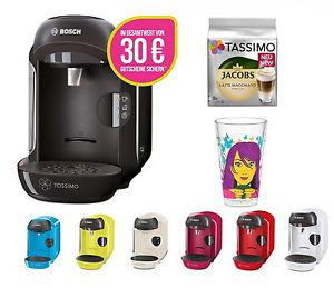 Bosch TASSIMO VIVY + 30 EUR Gutscheine* + Jacobs TDiscs + Ritzenhoff Latte Glas für 34,99 (ebay)