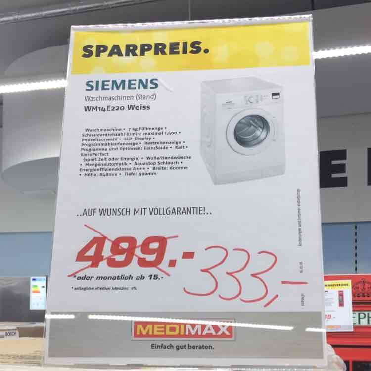 [Lokal MediMax Bottrop] Siemens WM14E220 Waschmaschine 333€