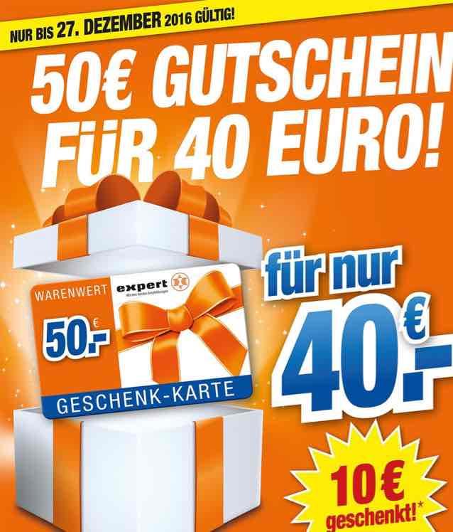 [Offline alle HEM Expert Filialen] 50,-€ Expert Geschenkgutschein für 40,-€