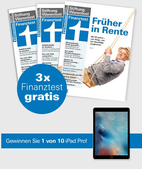 (Finanztest) 3 Ausgaben finanztest gratis ODER 3 Ausgaben finanztest mit Archiv CD für 2016 für 4,90€