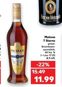 Kaufland ab Donnerstag Metaxa 7 Sterne  0,7L
