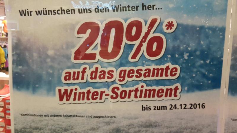 Lokal: FFM-Skyline Plaza - Intersport - 20% auf alle Winterartikel auch auf SALE