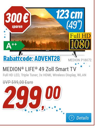 [notebooksbilliger.de] Adventkalender Tag 21 - Medion LIFE Fernseher (49 Zoll) LED-TV, Full HD, Triple Tuner zzgl. 11,99 VSK