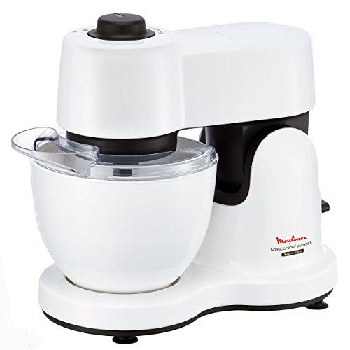 Moulinex QA2131 Küchenmaschine Masterchef Compact White Plus (700 W, 3,5 L Volumen, 4 Geschwindigkeitsstufen) weiß / grau