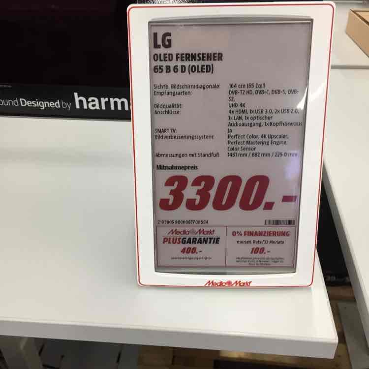 [Mediamarkt Ostseestraße in Berlin Weißensee] LG OLED65B6D, 164 CM (65 ZOLL), UHD 4K,