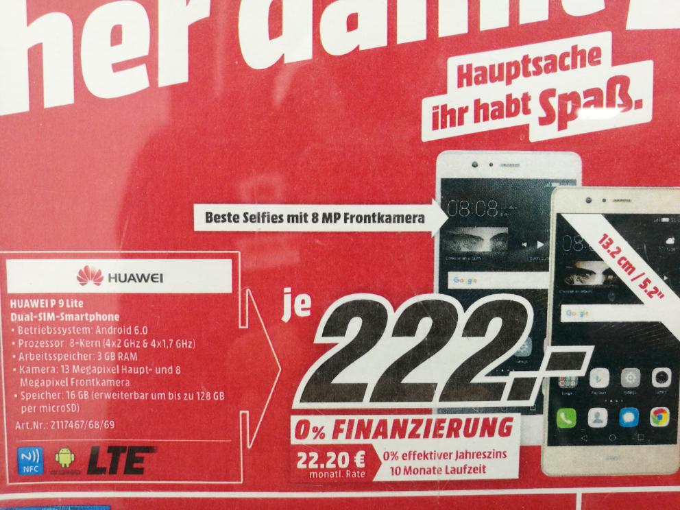 Huawei P9 Lite für 222€ im Media Markt Alexa Berlin