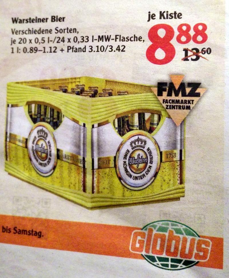 [Globus WND] evtl. bundesweit? Bier Warsteiner 20 x 0,5 l  / 24 x 0,33 l für 8,88€verschiedene Sorten