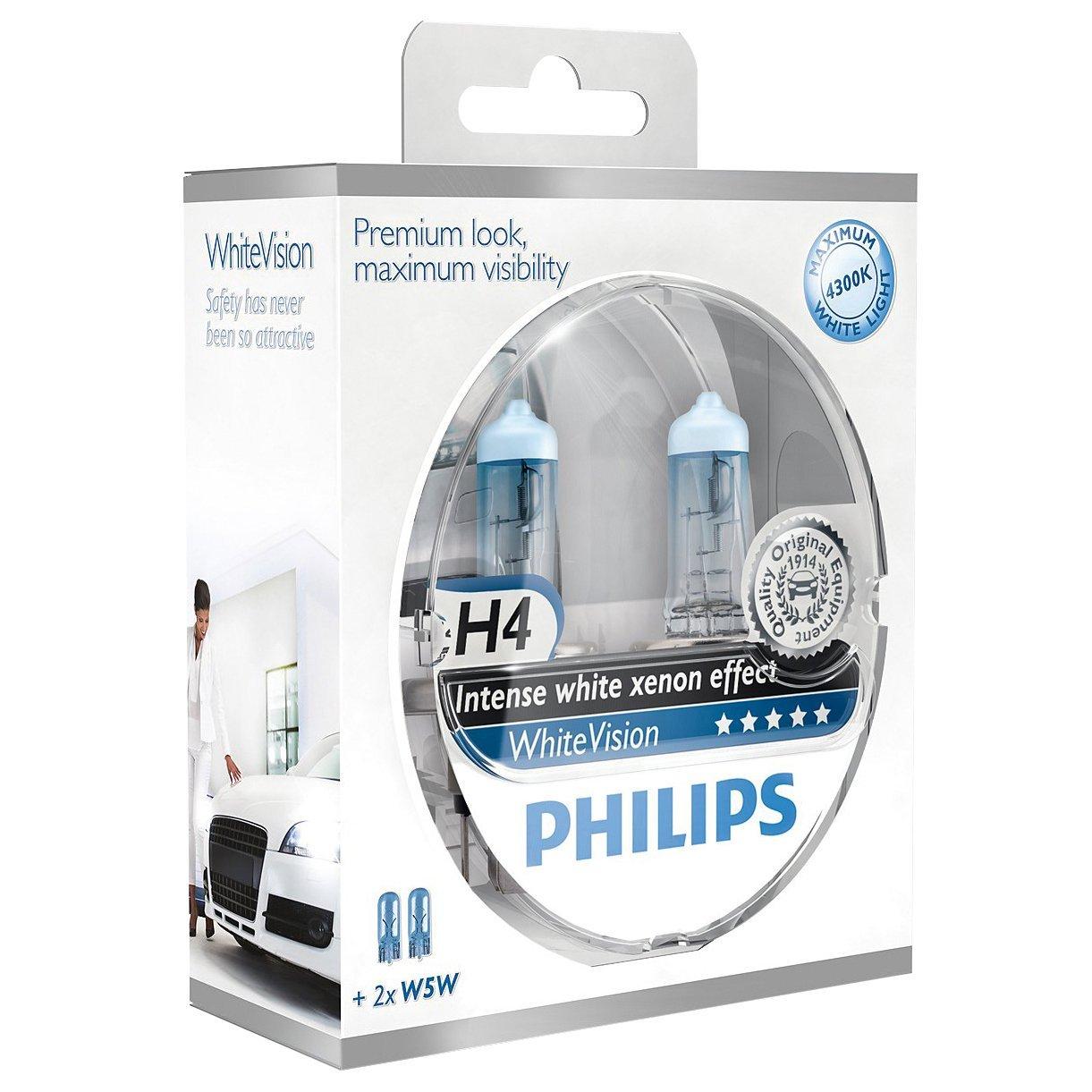 [Amazon Prime] Philips WhiteVision Xenon-Effekt H4 Scheinwerferlampe 12342WHVSM, 2er-Set für 11,06€