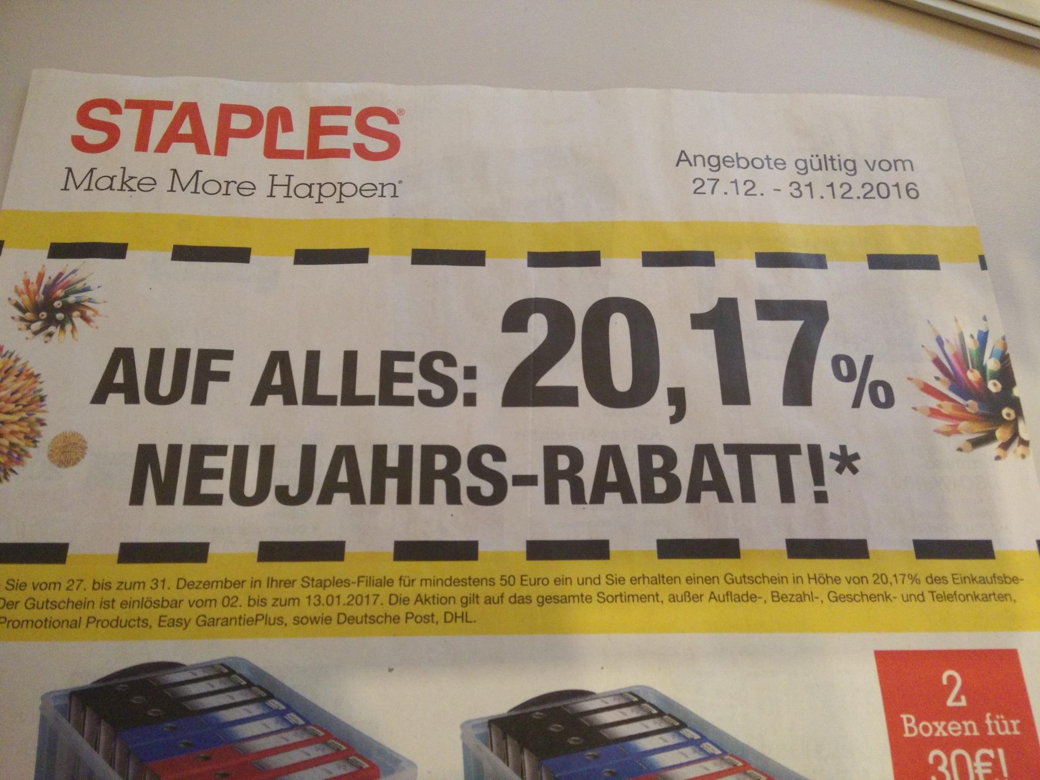 [Staples] Prozente bei Staples 27.12.2016 bis 31.12.2016 20,17% als Gutschein