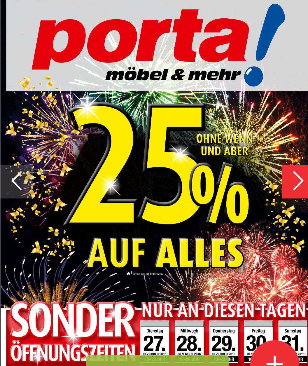 Porta Möbel 25% auf Alles ab 27.12. online/offline