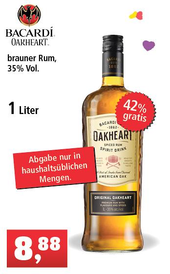 [Thomas Philipps bundesweit] 1 L Bacardi Oakheart (0,7 L = 6,22 €)
