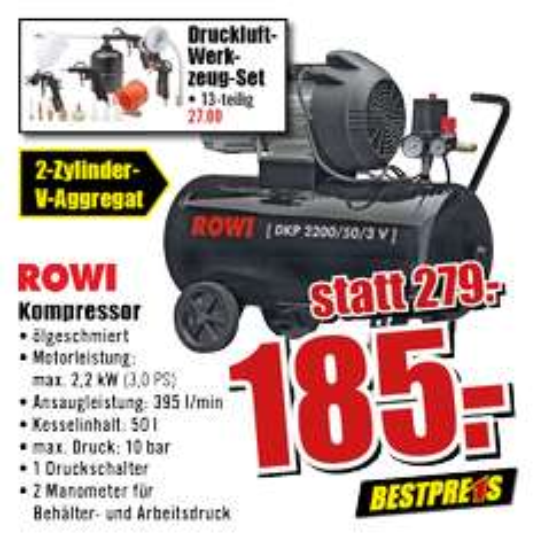 [B1 Baumarkt] Rowi Doppelzylinder Kompressor (DKP 2200/50/3 V), idealo 299,99 €