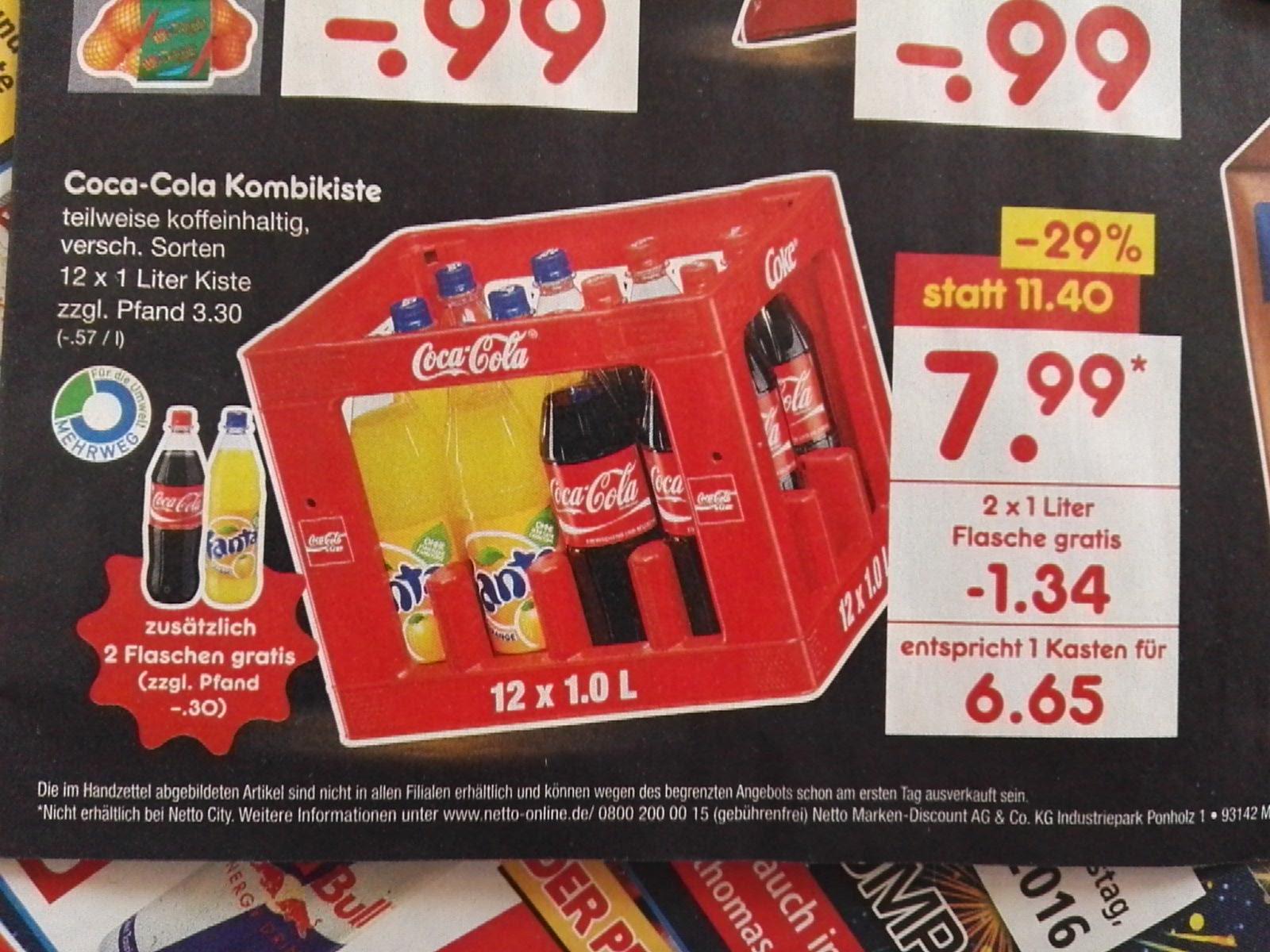 Coca Cola Fanta Sprite 14x1l @Netto ohne Hund für 7,99€ - effektiv 6,65€/Kasten