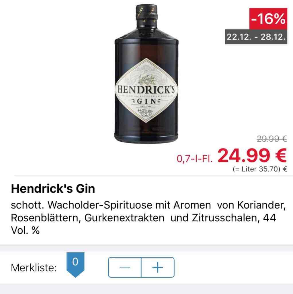 (Lokal): Kaufland Rostock - Hendricks Gin 0,7L 24,99€