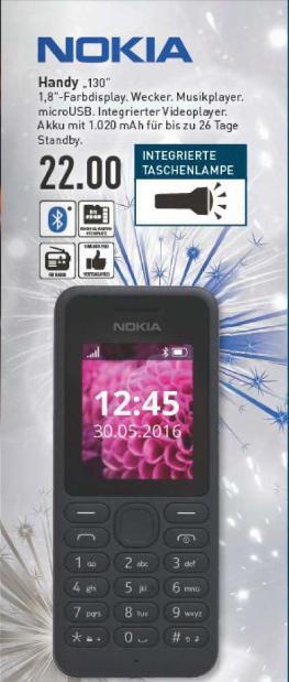 NOKIA 130 schwarz | µSD | µUSB | MP3-Player/Radio | 3,5mm Klinke | Taschenlampe ^^ [Marktkauf]