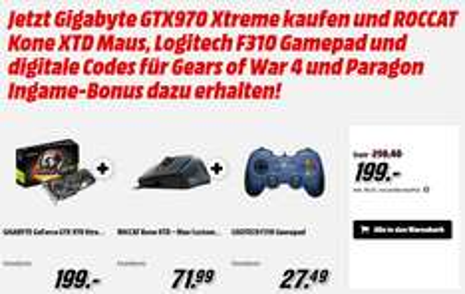 Gigabyte GTX970 Xtreme kaufen und ROCCAT Kone XTD Maus und Logitech F310 Gamepad (Mediamarkt)