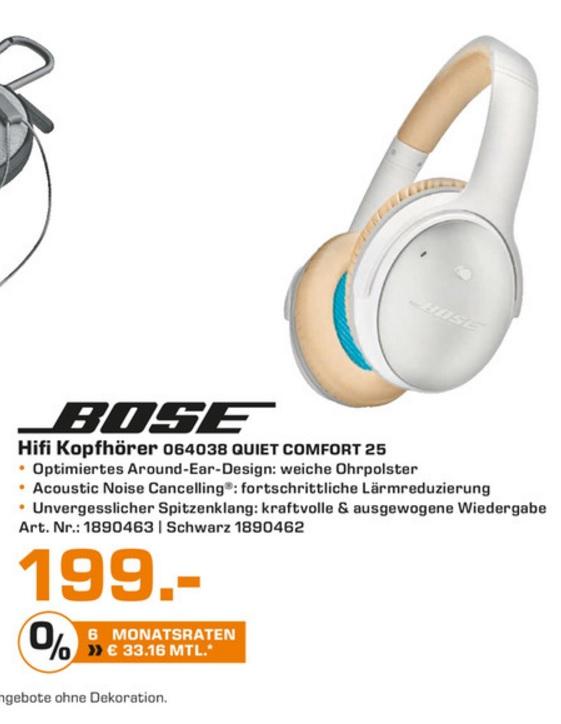 (Lokal) BOSE QuietComfort 25, Over-ear Kopfhörer Schwarz & Weiß für 199€ @ Saturn Wesel