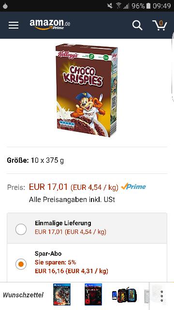 10x Kellogs Choco Krispies nur 17.01€ Kostenloser Versand für Prime