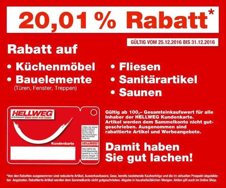 Hellweg Baumarkt - 20,01% Rabatt auf Küchenmöbel, Bauelemente, Fliesen, Sanitärartikel und Saunen