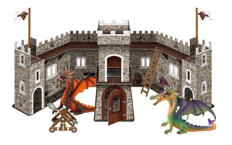 Bullyland 75037 - Spielset - Drachenburg mit grünem und orangem Drachen