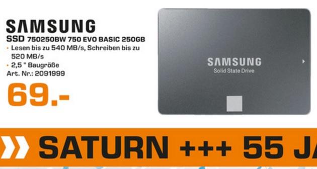 [Lokal Saturn Kleve] SAMSUNG 750 EVO SSD, 250 GB, 2.5 Zoll für 69€