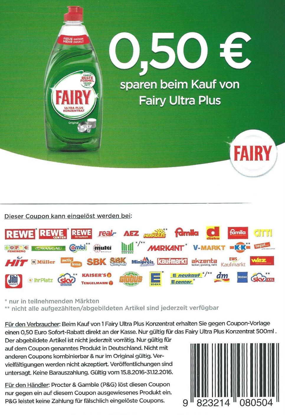 Fairy für 0,99 EUR - 0,50 EUR = 0,49 EUR im Angebot bei HIT und Edeka Südwest