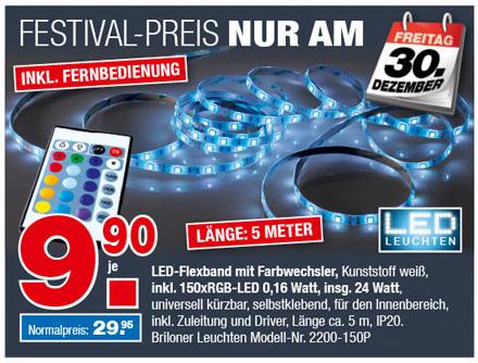 [NRW lokal - Ostermann] LED Flexband Superline 5 Meter,  Fernbedienung, Farbwechsler - Nur am 30.12.16