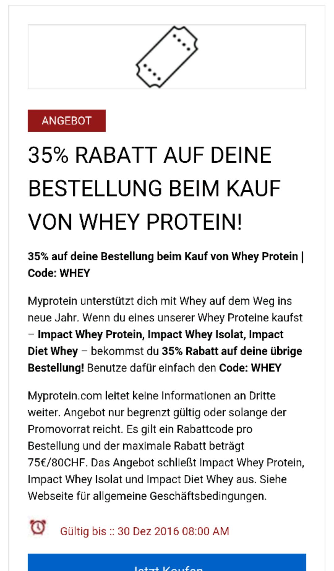 Beim Kauf eines Whey Proteins 35% auf die restliche Bestellung erhalten