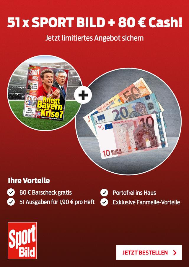 1 Jahr Sport Bild 51x lesen inkl. Barscheck in Höhe von 80€ bei 96,90€ Abokosten für effektiv 16,90€, ggf. 8,90€ bei Zahlung per Bankeinzug