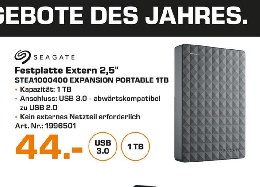 """(Lokal) Seagate Expansion Portable 1TB 2,5"""" für 44€ (Ausbaubar für die PS4) @ Saturn Essen, Mülheim, Oberhausen"""