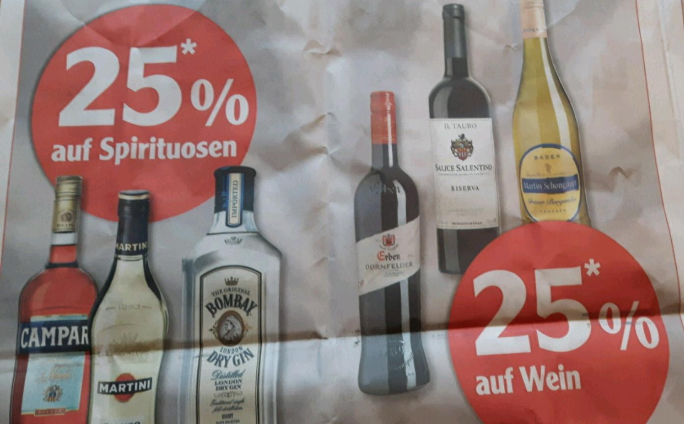 [lokal Globus Stockstadt] jetzt 25% auf alle Spirituosen und Wein