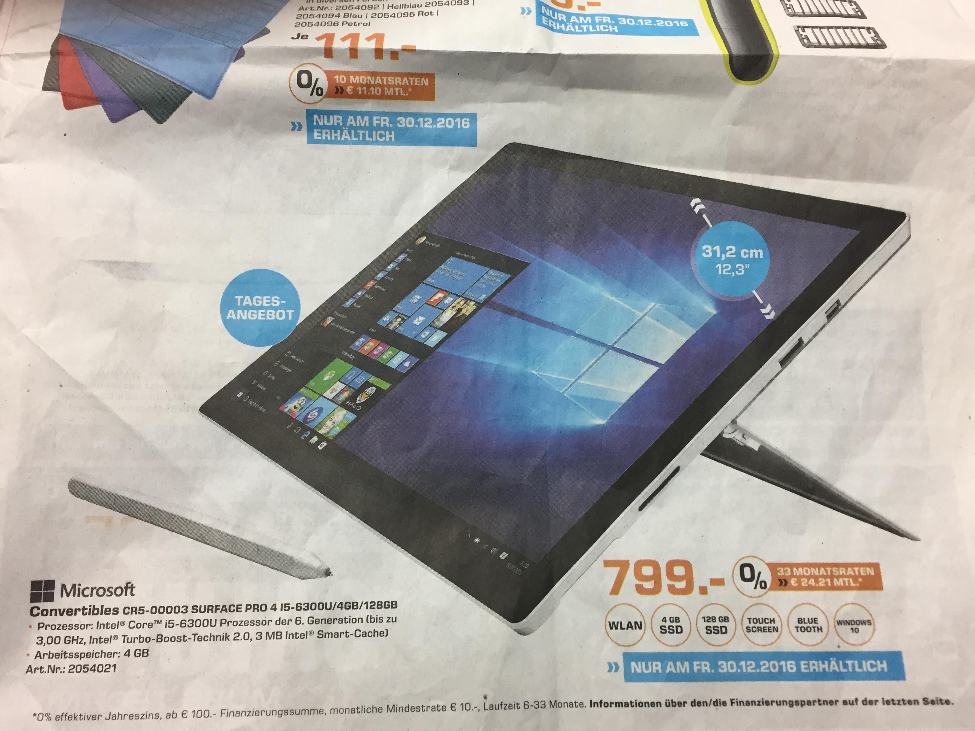 Lokal Saturn Paderborn: Microsoft Surface Pro mit i5 und 128 Gb SSD für 799 Euro