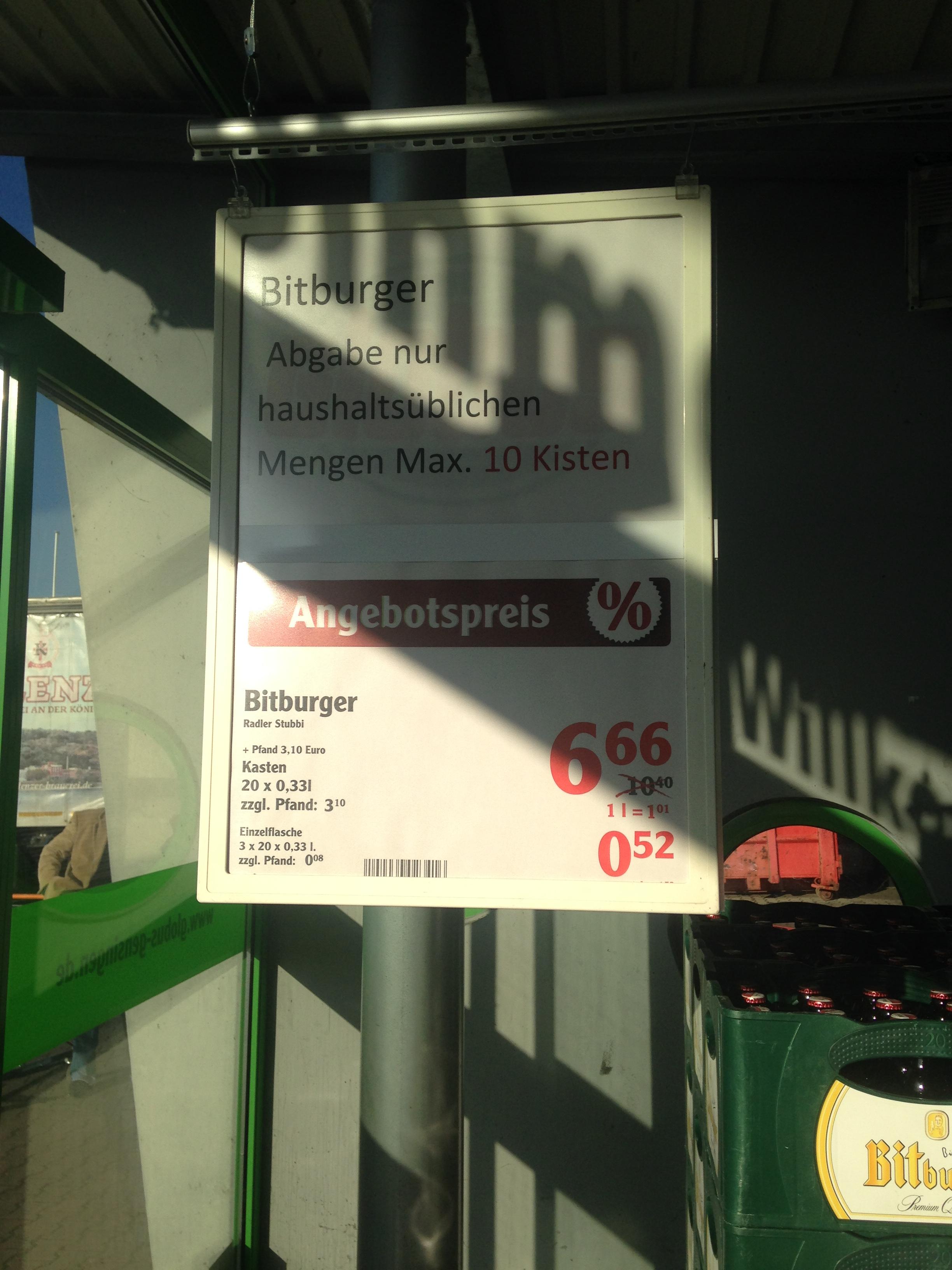 [Globus Gensingen] Bitburger Stubbi 6,66€/max 10 Kisten/Person