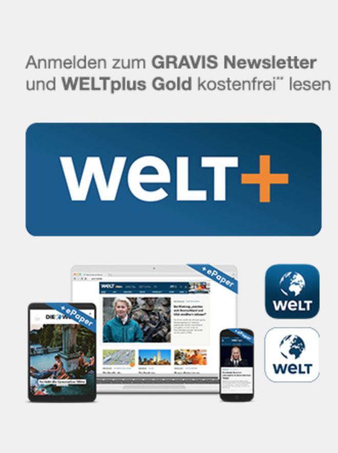 3 Monate WELTplus gratis bei GRAVIS Newsletter-Anmeldung