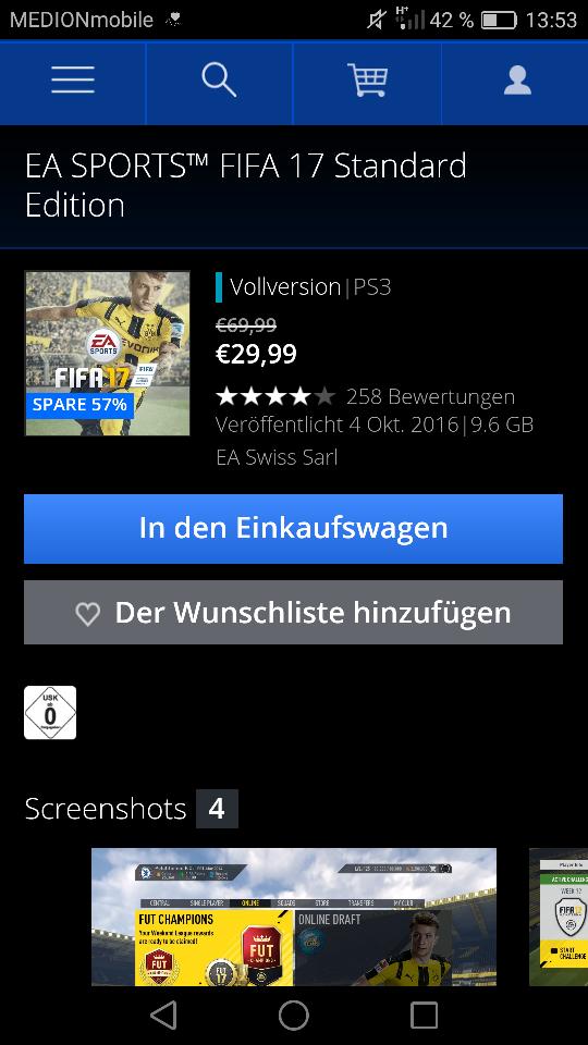 Fifa 17, 57% Reduziert! Online Playstation Store, bis 07.01.17!