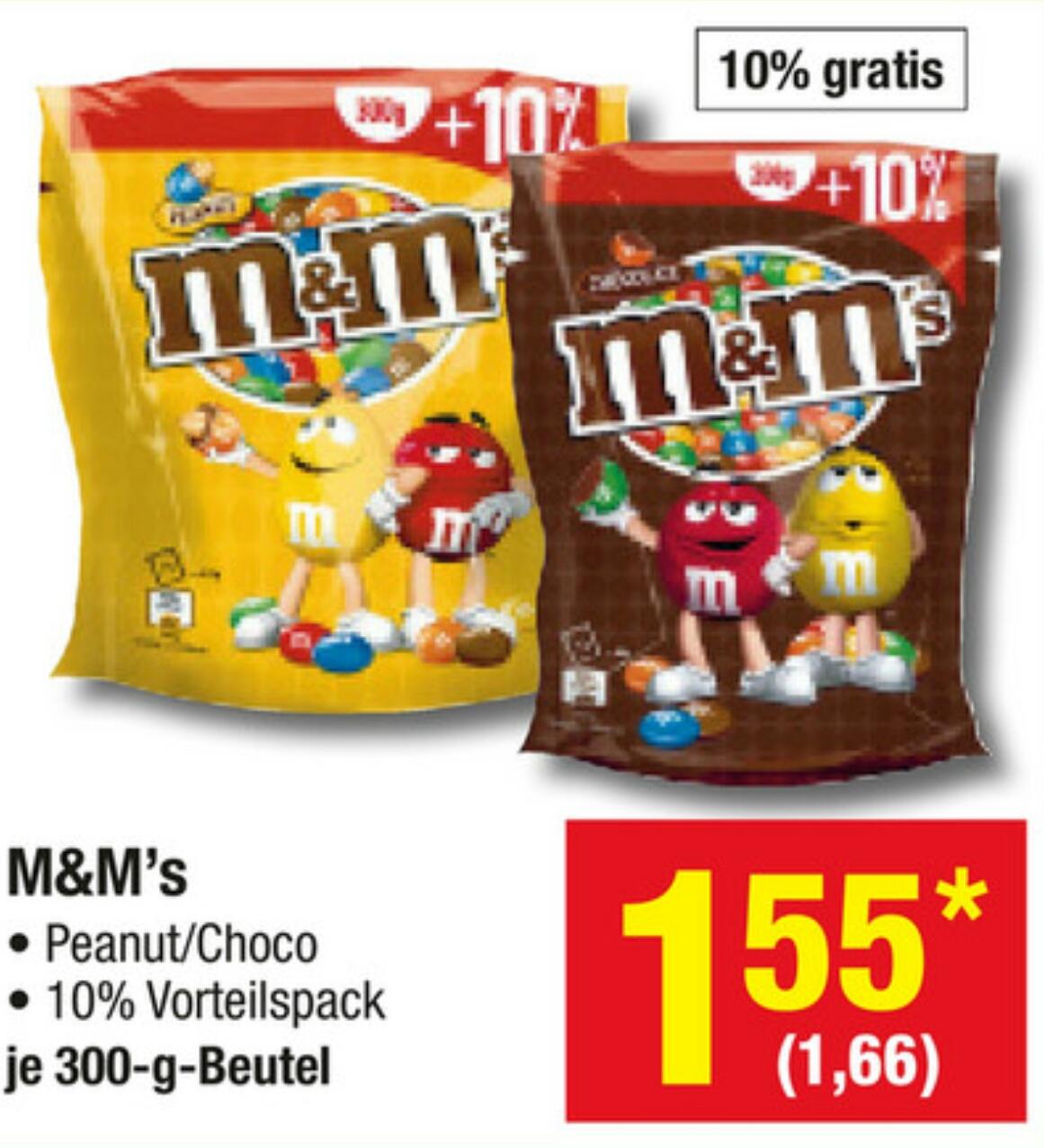 [metro] M&Ms Peanut/Choco 300g für 1,66€ (KG=5,53€)