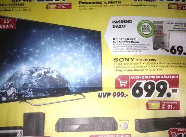 Lokal DO/BO Medimax Sony KD55XD7005 idealo:797€