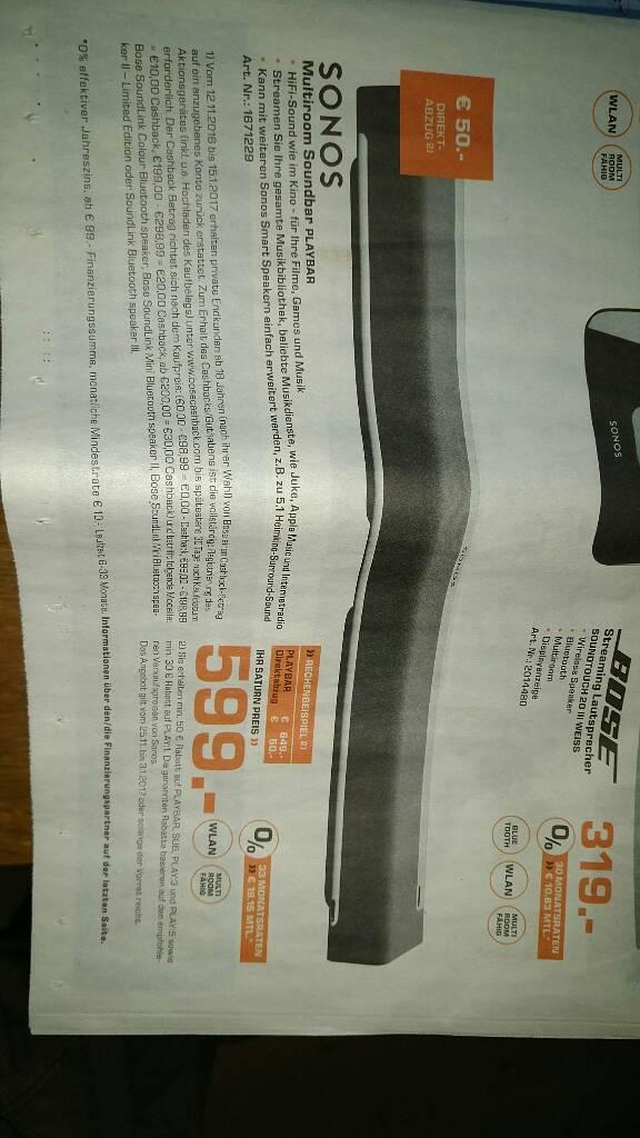 Sonos Playbar bei Saturn in Stuttgart für 599 Euro