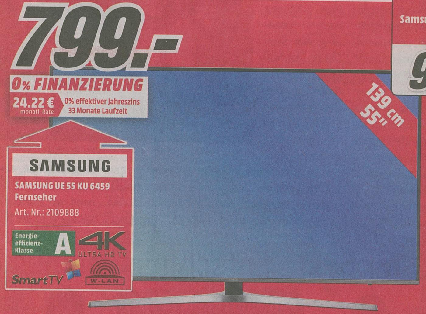 [Lokal Neuss] SAMSUNG UE55KU6459 LED TV (Flat, 55 Zoll, UHD 4K, SMART TV)