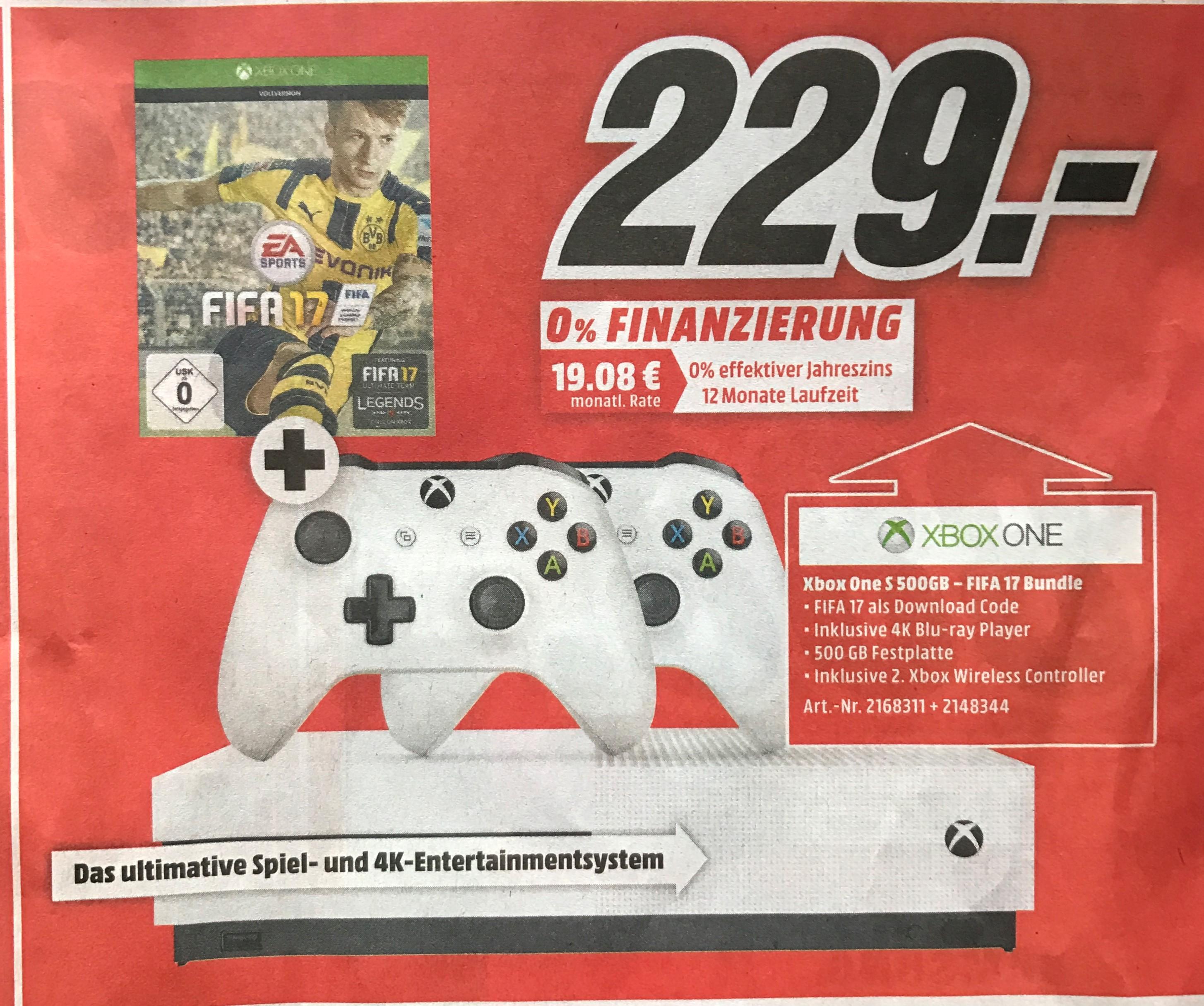[Mediamarkt Heilbronn] Xbox One S 500GB mit Fifa 17 und 2. Controller für 229€ (mit einem Jahr Xbox Live 254€)