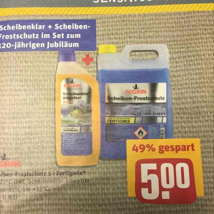 NIGRIN Scheibenfrostschutz 5 Liter + Scheibenklar 1 Liter - REWE Center Nordbayern (bundesweit???) ab 02.01.17