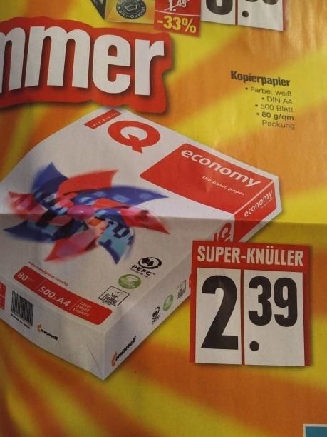 [Edeka Buckenhof, evt. weitere] 500 Blatt Kopierpapier 80g/qm für 2,39 EUR ab 2.1.2017