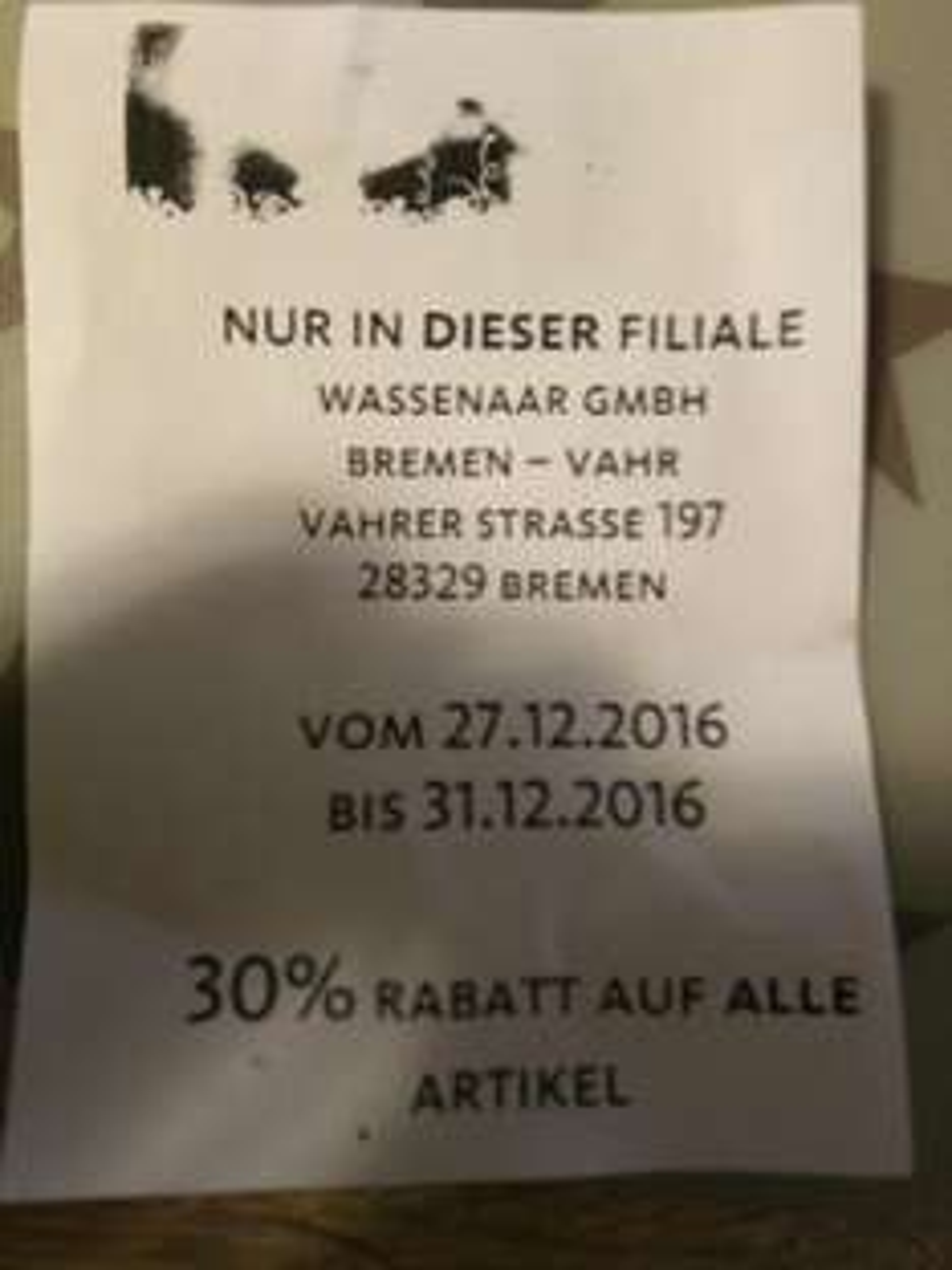 Wassenaar Bremen Vahr 30 Prozent auf alles !!! Nur noch Heute