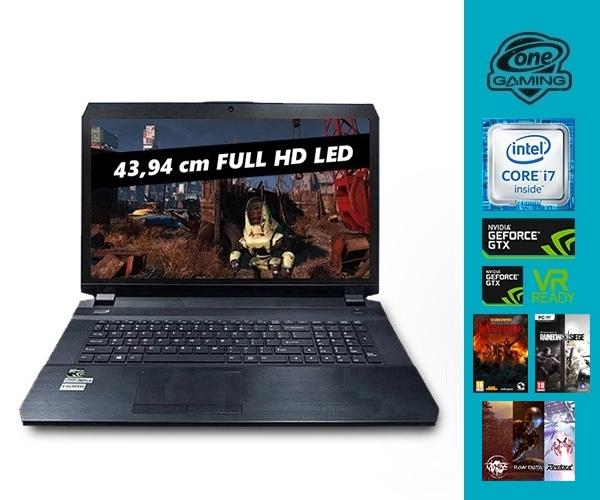 [One] ONE GAMING K73-6M Notebook (17,3'' FHD IPS matt, i7-6700HQ, GTX 1070 8GB, Wartungsklappe, bel. Tastatur) für 1810,43€