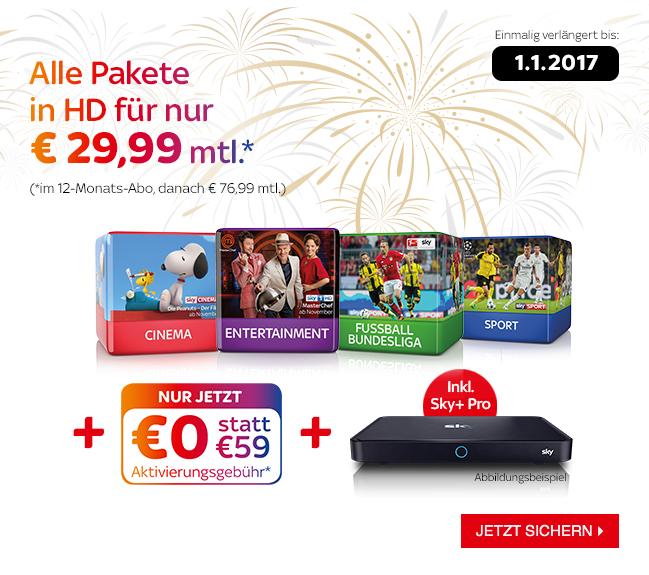 Sky komplett für 29,99 Euro - Aktion verlängert bis 01.01.2017